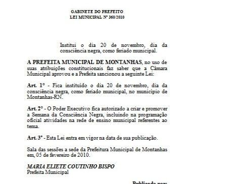 FERIADO MUNICIPAL EM MONTANHAS NESTA SEGUNDA-FEIRA (20)