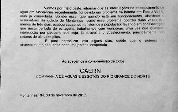 O EXECUTIVO PEDE EXPLICAÇÃO SOBRE FALTA DE ÁGUA À CAERN DO MUNICÍPIO DE MONTANHAS