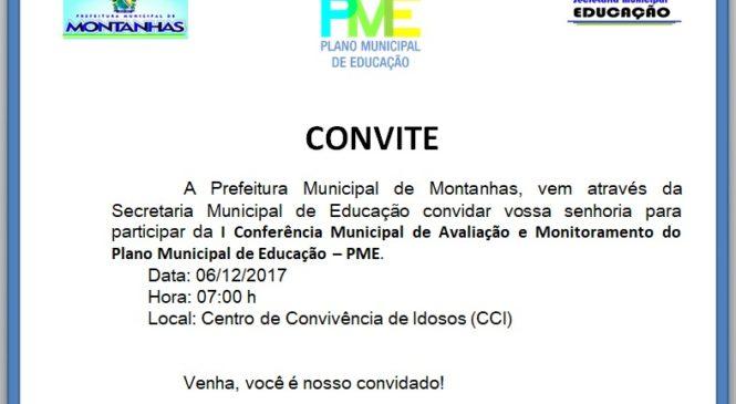 CONVITE – 1ª CONFERÊNCIA MUNICIPAL DE AVALIAÇÃO E MONITORAMENTO DO PME
