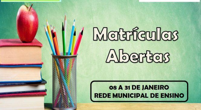 MATRÍCULAS ABERTAS NA REDE MUNICIPAL DE ENSINO!